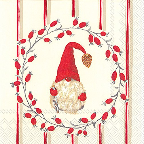Boston International C742910 Holiday Cocktailservietten Papier Little Nisse - Red
