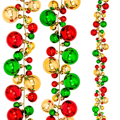 Whaline Christmas Ball Garland Ball Ornaments 6ft Bauble Garland Christmas Tree Ball Decorations Shatterproof Ball Ornament for Xmas Party Supplies, Indoor Outdoor Home Office, Red Green Gold