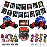 Among us Party Supplies Among us Globos Among us Cumpleaños Pancartas Decoración para Fiestas Adorno de Torta para Niños Ducha de Bebé Fiesta de Cumpleaños