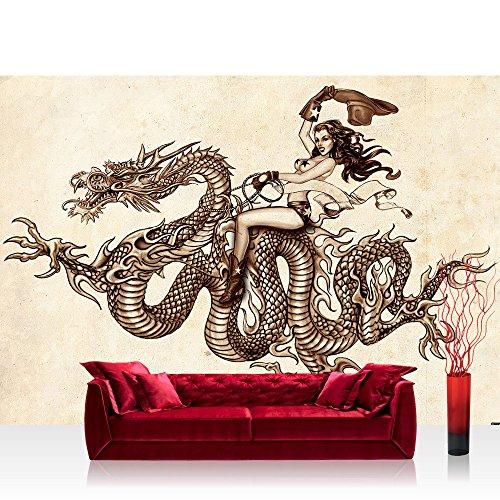 Vlies Fototapete 104x70.5cm PREMIUM PLUS Wand Foto Tapete Wand Bild Vliestapete - Illustrationen Tapete Drachen Zeichnung Frau Vintage braun - no. 1204