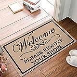 MUSEDAY Retro Entryway Door Rug 18 x 30 inch Floor Mat Welcome Please Take Off Your Shoes Doormat Indoor/Outdoor Door Shoe Scraper Rubber Entrance Mat for Home