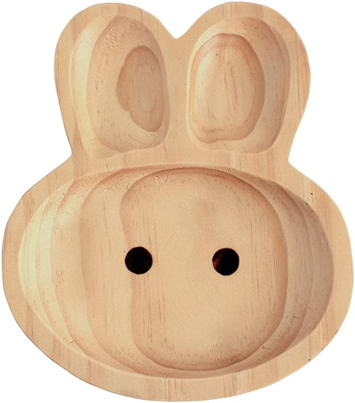 Time Concept Kids Petits Et Maman Wooden Rabbit Plate Eco Friendly Handcrafted Dinnerware