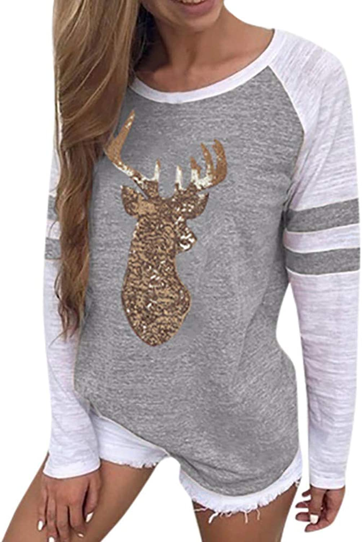 Brilliant sun Womens Christmas Long Sleeve Reindeer Print ONeck Appliques Casual