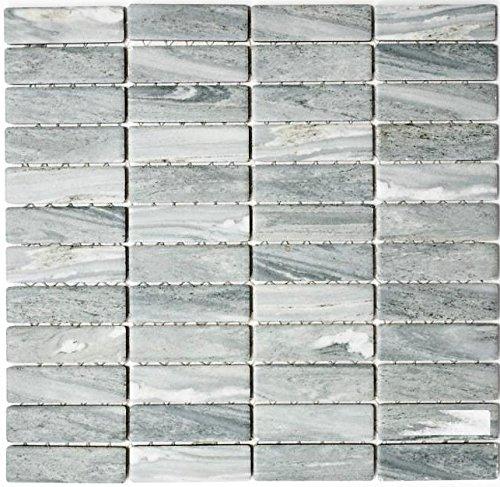 Mosaik Fliese Keramik Stäbchen Steinoptik grau für WAND BAD WC DUSCHE KÜCHE FLIESENSPIEGEL THEKENVERKLEIDUNG BADEWANNENVERKLEIDUNG Mosaikmatte Mosaikplatte