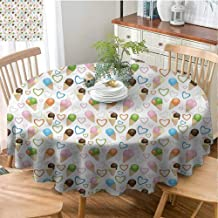 Ice Cream Home Round Tablecloth Kitchen Dinning Tabletop Decoration Single Scoop Heart Love Home Round Tablecloth Dust-Proof Table Cover - 55