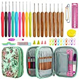 LOOEN New Set Crochet Hooks Set with Case, 9 pcs Rubber Handles Hook 2.0MM-6MM and 8 pcs Bamboo Hook 1.0MM-2.75MM Comfort Grip Accessories Included (Green)