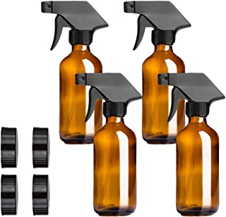 Spray Bottle, 4 Pack 16 OZ Empty Amber Glass Spray Bottles Refillable Container for Essential Oils, Cleaning Products, or Aromatherapy, Trigger Sprayers with Mist and Stream Settings