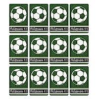 明るいホワイト サッカーボール 2.5 x 4 厚紙 しおり 12個パック