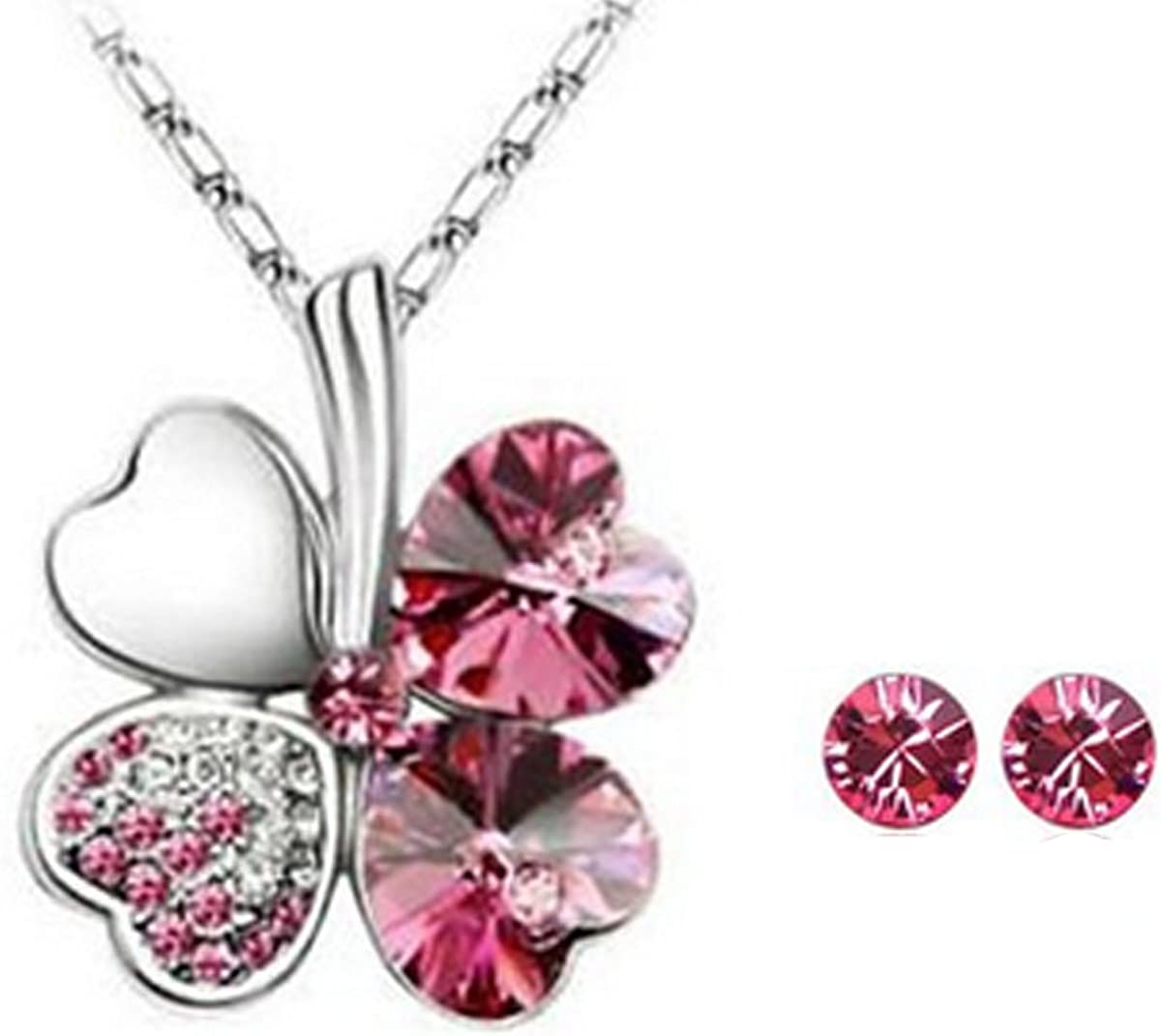 Wrapables Gold Plated Swarovski Elements Crystal Heart Shaped Four Leaf Clover Pendant Necklace and Stud Earrings Jewelry Set (Rose Red)