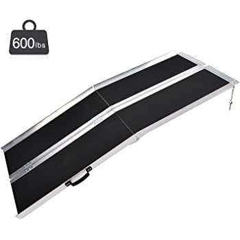 Fullwatt 6FT Non Skid Aluminum Wheelchair Ramp Folding Portable Wheelchair Scooter Ramp with Carrying Handle 72 Inch x 29 Inch