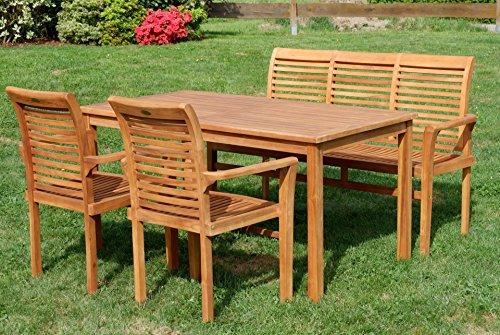 ASS Teak Set: Gartengarnitur Gartentisch 150x80 cm + 1 Bank 150 cm für 3 Personen + 2 Sessel Serie JAV-Alpen - 3