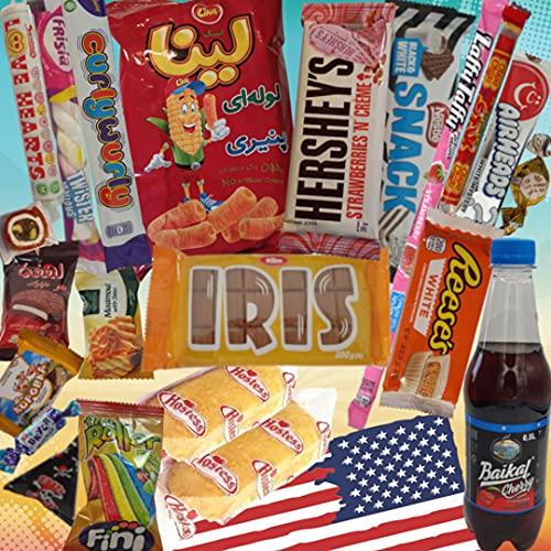Süssigkeiten aus verschiedenen Ländern   18 x Süßigkeiten Mix   USA Box   Asia, Russia, Arabic Schokolade   Party Box   Snackbox   Candy Mix asiatische snacks Süßigkeiten aus aller Welt …