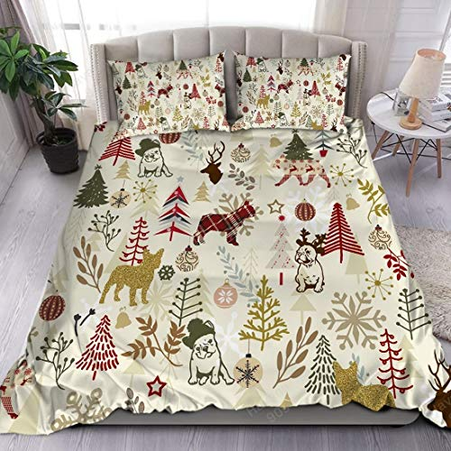 French Bulldog Bedding Set Christmas Vintage Colours Bedding Sets 3 Pieces Dog Collection Duvet Quilt Pillow Case Cover Set US Twin-Full-Queen-King Size