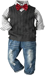Fairy-Baby Baby Boys Autumn Playwear Sweater Vest,Striped Cotton Shirt and Jeans 3-pc Suit Kids Casual Daily Wear