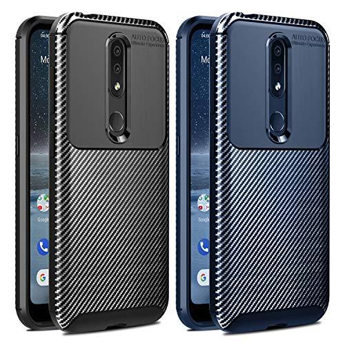 VGUARD [2 Stücke] Hülle für Nokia 4.2, Stylisch Karbon Design Schutzhülle Cover Robuste Soft Flex TPU Silikon Handyhülle Hülle für Nokia 4.2 (Schwarz+Blau)