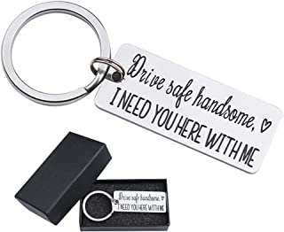 Drive Safe I Need You Here with Me Keychain Gift for Husband Son Valentine's Day Keychains for Boyfriend Dad Key Chain