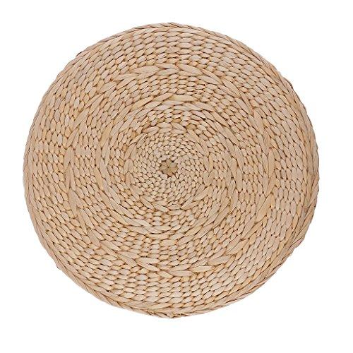 Baoblaze 30cm Runde Stroh Weben Stroh Sitzkissen gepolstert mit Seidenbaumwolle für Boden, Bürostuhl
