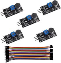 5PCS LM393 Sound Detection Sensor Microphone Module, for Arduino, 3.3-5V Digital Onboard Potentiometer Led Indicator, 40P Female to Male Dupont Cable
