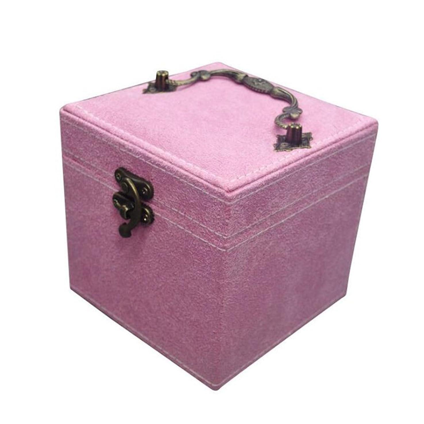 悲鳴メッセンジャーピルファーBALLEEY 指輪&イヤリングのための宝石箱ネックレス-3収納トレイヴィンテージバックル閉鎖、子供のためのギフト女の子と女性メンズとレディースユニバーサルトラベルバッグ収納バッグ洗濯バッグ (色 : ピンク)