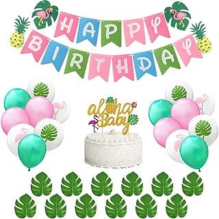 BUSOHA Hawaiian Birthday Party Decorations - 1 Flamingo Pineapple Felt Happy Birthday Banner, 1 Aloha Baby Cake Topper ,12 Pcs Tropical Palm Leaves and 12 Pcs Latex Balloons for Aloha Hawaiian Luau Beach Summer Jungle Theme Party Supplies