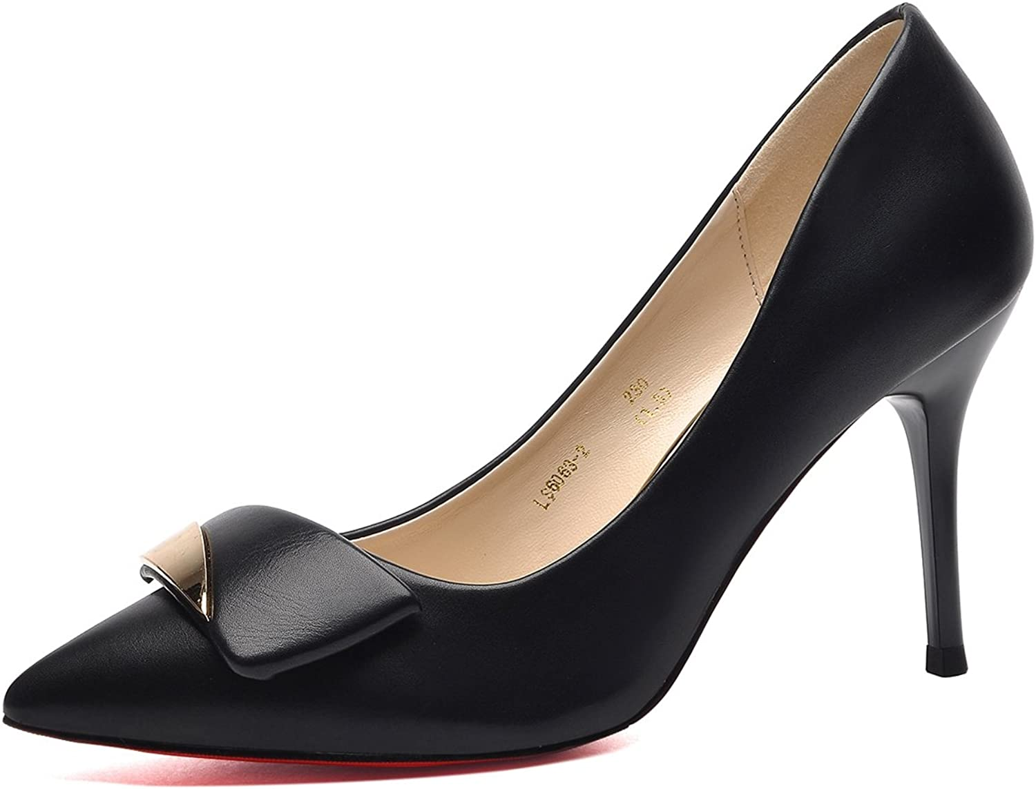 FOXSENSE Leather Stiletto Pointed Shallow Mouth Female 3.4' High Heels Single shoes
