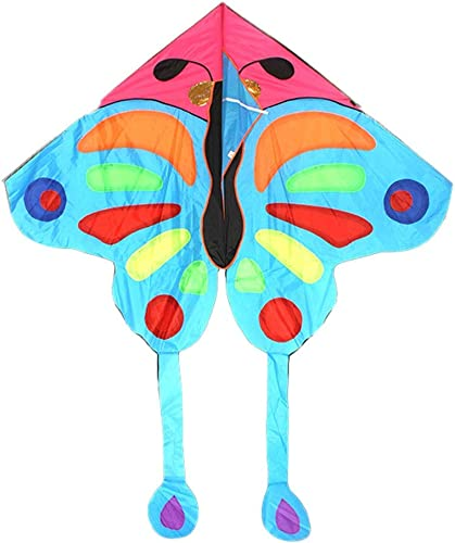 LQW HOME-kite Kinder Schmetterlingsdrachen Sehr geeignet für Anf er Leicht zu fliegen Kinderspielzeug Geschenk (Farbe   Blau, Größe   500meter line)