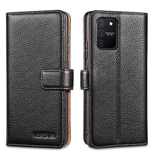 LENSUN Echtleder Hülle für Samsung Galaxy S10 Lite, Leder Handyhülle Kartenfächer Handytasche Lederhülle kompatibel mit Samsung Galaxy S10 Lite(6,7 Zoll) – Schwarz(S10L-LG-BK)