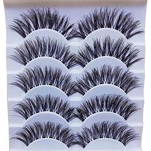KADIS 5 Paires 3D Natural Multi Layer Long Eye Lashes Fait à la Main de Faux Cils 3D Cils réutilisables, 5 Paires