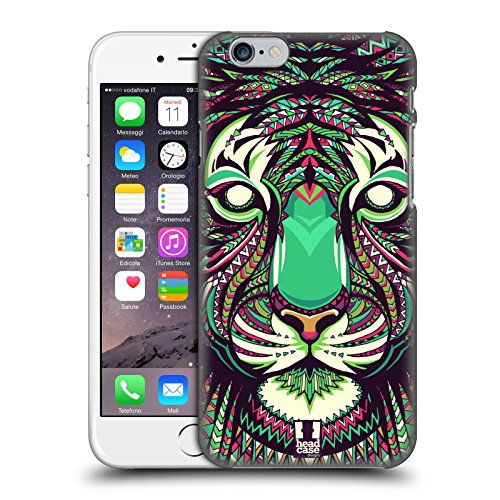 Head Case Designs Tigre Facce di Animali Aztechi 2 Cover Dura per Parte Posteriore e Sfondo di Design Abbinato Compatibile con Apple iPhone 6 / iPhone 6s
