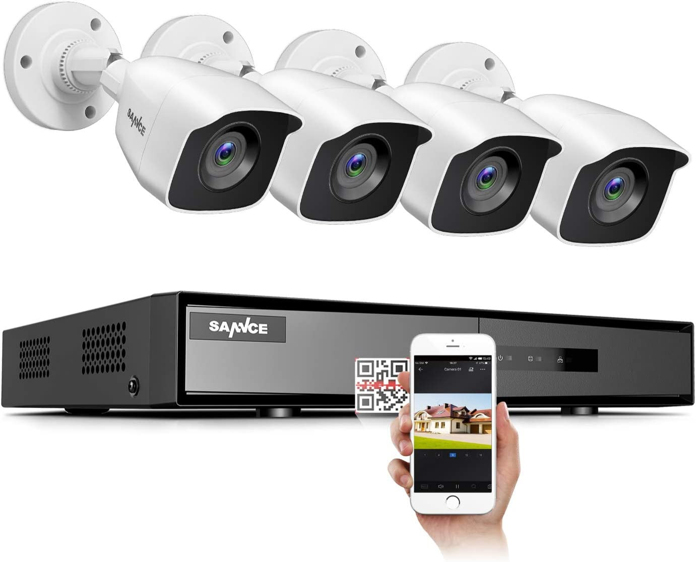 SANNCE Security Camera 8CH 1080N Surveillance DVR System and (4) 720P 1.0MP HD-TVI Weatherproof CCTV Cameras, Infrared Superior Night Vision, P2P & QR Code Scan Remote Access