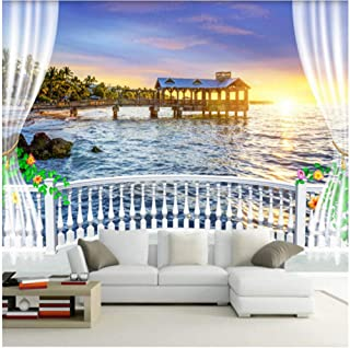 xbwy Custom Photo Wall Paper 3D Balcony Beautiful Sea View Sunrise Mural Living Room Bedroom Cafe Restaurant Backdrop Wall Home Decor-200X140Cm