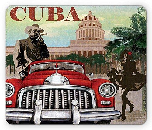 Tapis de souris Cuba, thème tourisme campagnard, motif vintage Cigare fumeur et danseuse, taille standard, tapis de souris rectangulaire en caoutchouc antidérapant, multicolore