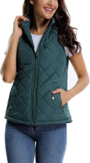 MISS MOLY Women's Lightweight Zip up Stand Collar Warm Quilted Gilets Padded Puffer Vest Outerwear w 2 Pockets
