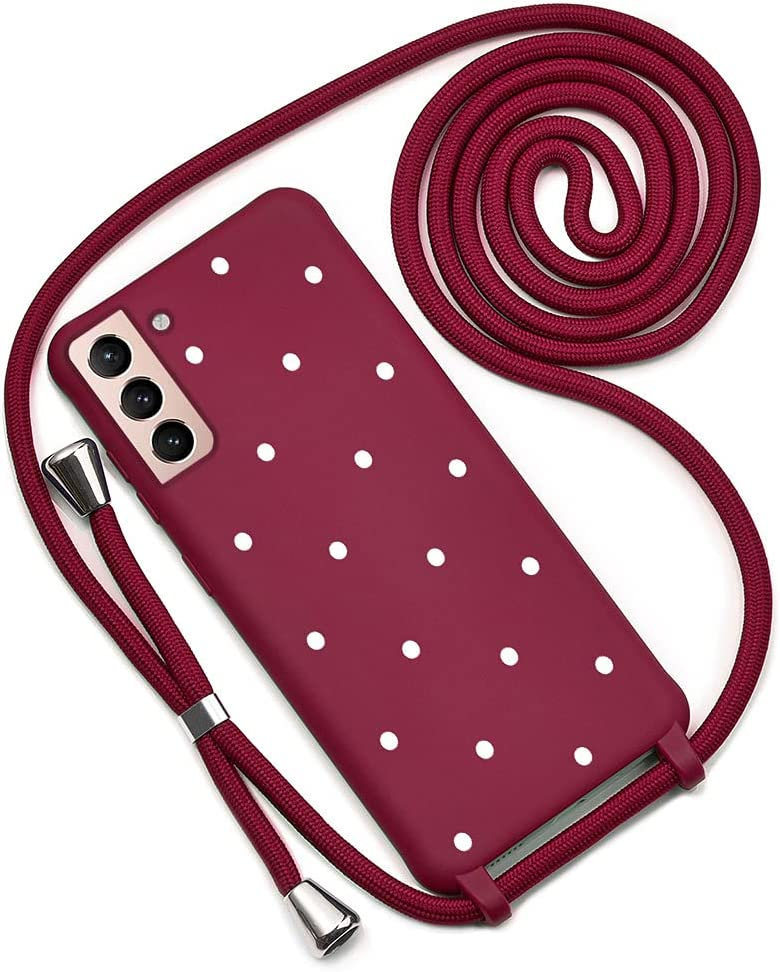 QULT Funda iPhone con Cordón para el Cuello – Funda Protectora Diseñada para Funda Samsung Galaxy S21 Plus 5G – Funda de Silicona Suave Resistente a Golpes – Verde con Lunares Vino Rojo
