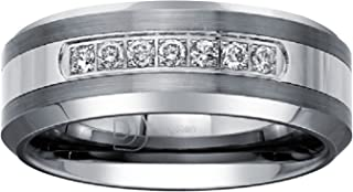Mens 1/5ct Diamond Wedding Band in Tungsten Carbide