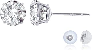 Solid 14K Yellow, White or Rose Gold 4mm Round Genuine Gemstone Birthstone Stud Earrings | Solid Gold | Prong Set | Natural Gemstones | Gold Earrings For Women