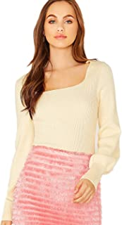 Milumia Women's Pullover Square Neck Lantern Sleeve Top Solid Knit Sweater