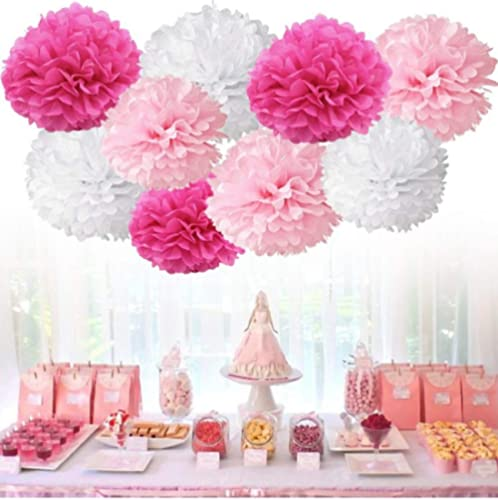 "Chocozone 12"" DIY Pom Pom Flower Party Props Party Supplies Birthday Decorations Items for Girls ( Shades of Pink) (P..."