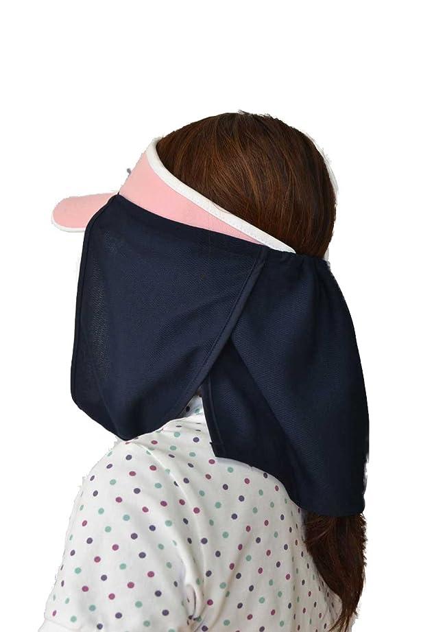ニコチン系統的自由UVカット帽子カバー?スズシーノ?(紺色)紫外線対策や熱射病、熱中症対策に最適【特許取得済】