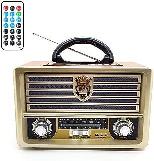 Meier M-113BT راديو عتيق محمول AM/FM/SW، فتحة بطاقة USB/SD/TF ، وحدة تحكم عن بعد بتقنية البلوتوث . استخدام مصدر طاقة عالم...