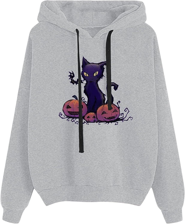 Halloween Hoodies for Women Funny Ca Cat High Japan Maker New order Print Pumpkin