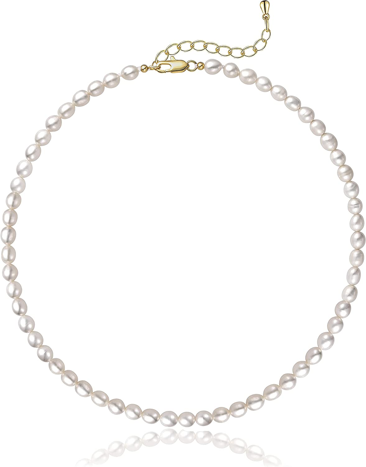 Cowlyn Pearl Necklace 5-7mm Oval White Baroque Pearls Strand Choker Handmade Chain Dainty Mother's Day Birthday Gifts for Women Girls(with Gift Box)