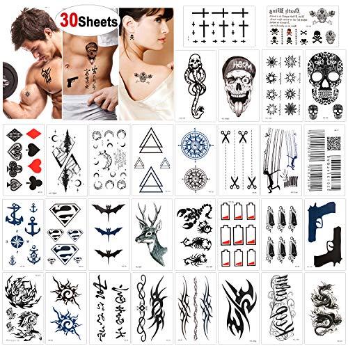 Konsait 30 feuilles Tatouage temporaire pour homme femme enfants, Étanche tatouages temporaires bras poignet noir body tattoo Tatouages éphémères, motifs variés