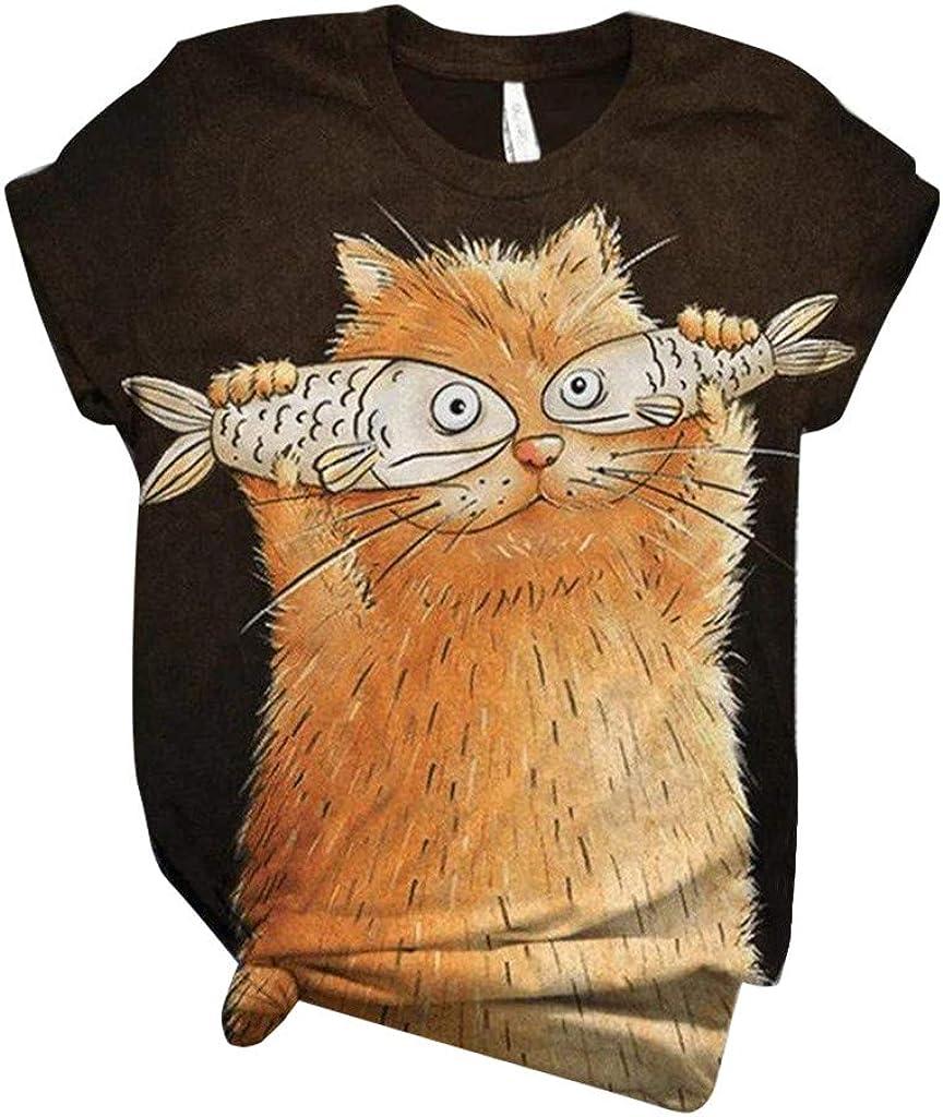 Womens T Shirts,Women's Short Sleeve Animal Printed O-Neck Shirts Casual Summer Loose Tee T-Shirt