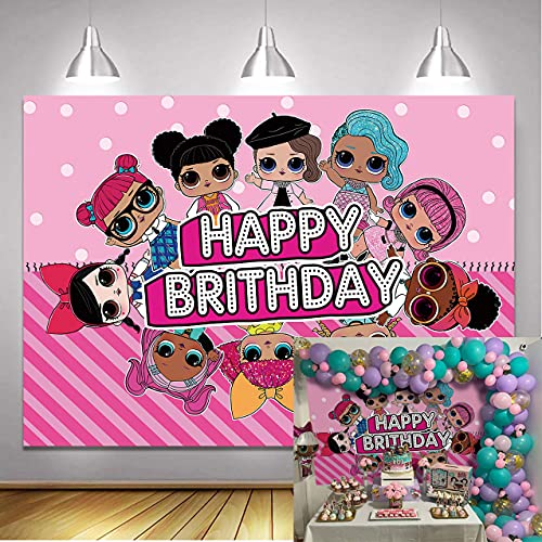 LXN Decoración de mesa de fiesta de cumpleaños para niñas, diseño de muñecas de color rosa dulce