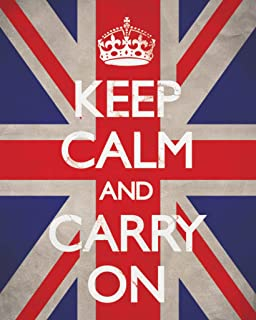 Pyramid America Keep Calm Carry On Motivational Inspirational WWII British Morale Union Jack Flag Cool Wall Decor Art Print Poster 16x20
