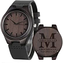 Groomsmen Watches Custom Engraved Wooden Watches for Men Husband Boyfriend Wood Watch for Wedding Anniversary Watches for Men