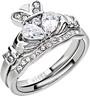 FlameReflection Stainless Steel Claddagh Wedding Ring Set AAA Cz Irish Bands for Women Size 5-10 SPJ