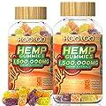 HOOLOO Hemp Gummies, 1,500,000MG Vegan Hemp Gummy Bears for Relaxing, Sleep Better, Reduce Stress Anxiety, Natural Hemp Extract Gummies, Made in USA (2 Pack)