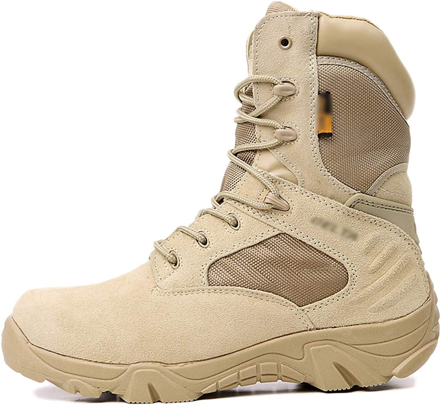 Liabb Mens Desert Military Combat Boot Delta Special Forces Security shoes Army Armed Tactics Boots Outdoor Mountaineering Hiking shoes,Beige,42